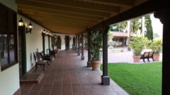 A breezeway in front of guest rooms at Rancho Capistrano. Creative Church Arts Conf. 2018.