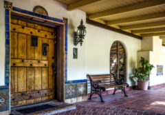 Rancho Capistrano; Architectural Workshop; Ted Miller, bench, door, tile, window,